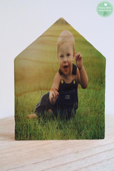 Fotohuisje-houten huisje -fotoblok -foto op hout