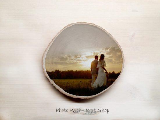 Boomschijf met foto,foto op hout,houtprint,fotoblokken,landelijke woondecoratie, rustieke woondecoratie,bijzonder persoonlijk kado!