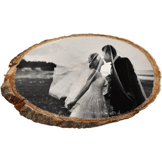 5th_wedding_Anniversary_treeslice-Boomschijf met foto- 5 jaar getrouwd -5 jarig huwelijks jubileum -Houten Jubileum -Jubileum foto op hout - Foto op boomschijf- Jubileum kado